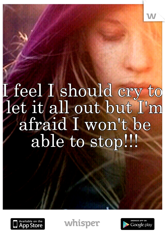 I feel I should cry to let it all out but I'm afraid I won't be able to stop!!!