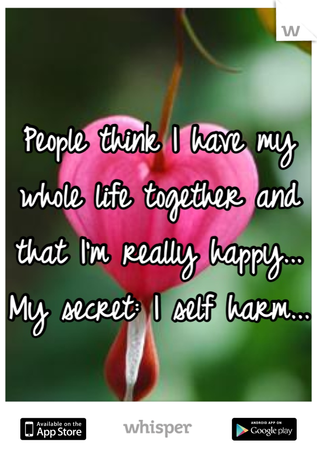 People think I have my whole life together and that I'm really happy... My secret: I self harm...