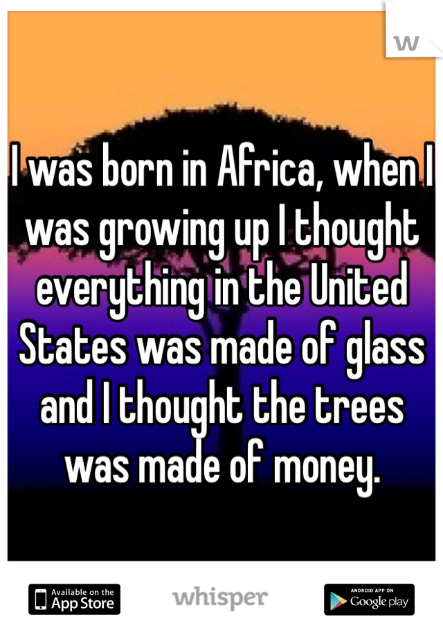 I was born in Africa, when I was growing up I thought everything in the United States was made of glass and I thought the trees was made of money.