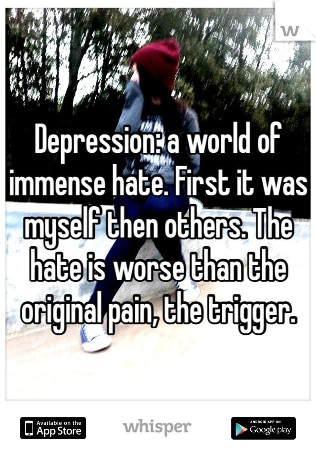 Depression: a world of immense hate. First it was myself then others. The hate is worse than the original pain, the trigger.