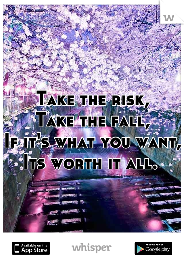 Take the risk,  Take the fall, If it's what you want, Its worth it all.