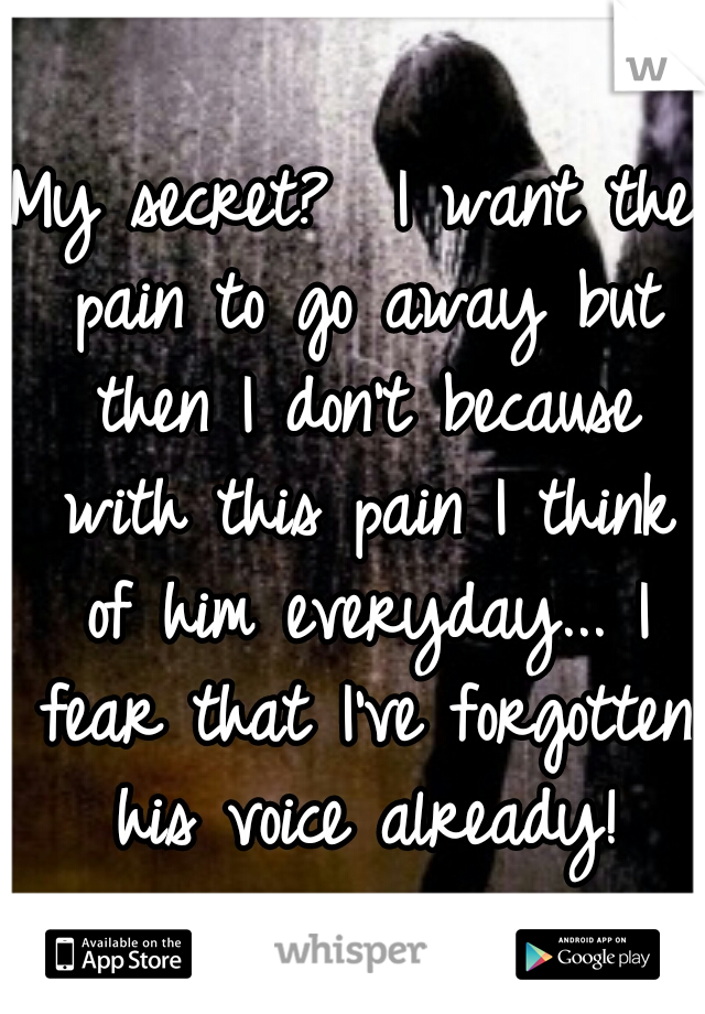 My secret?  I want the pain to go away but then I don't because with this pain I think of him everyday... I fear that I've forgotten his voice already!