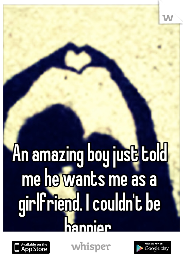 An amazing boy just told me he wants me as a girlfriend. I couldn't be happier