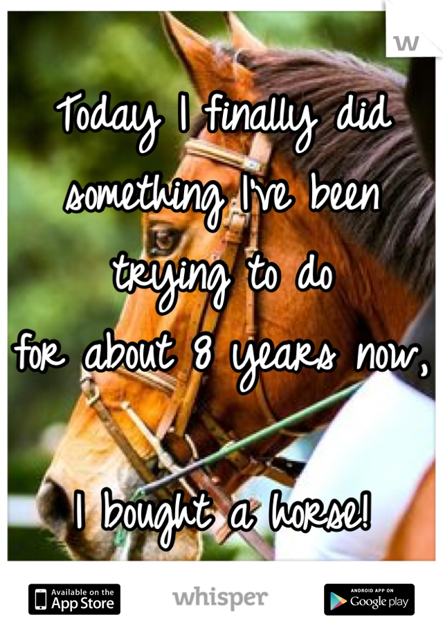 Today I finally did  something I've been  trying to do  for about 8 years now,  I bought a horse!