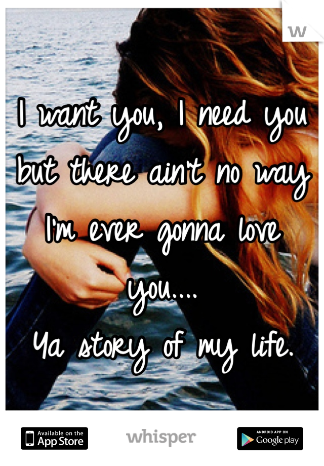 I want you, I need you but there ain't no way I'm ever gonna love you.... Ya story of my life.