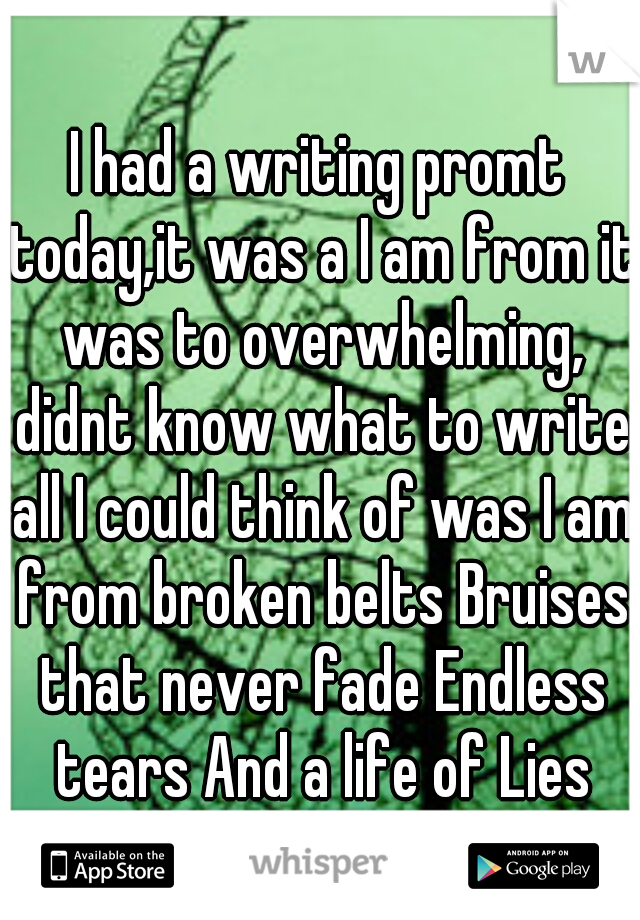 I had a writing promt today,it was a I am from it was to overwhelming, didnt know what to write all I could think of was I am from broken belts Bruises that never fade Endless tears And a life of Lies