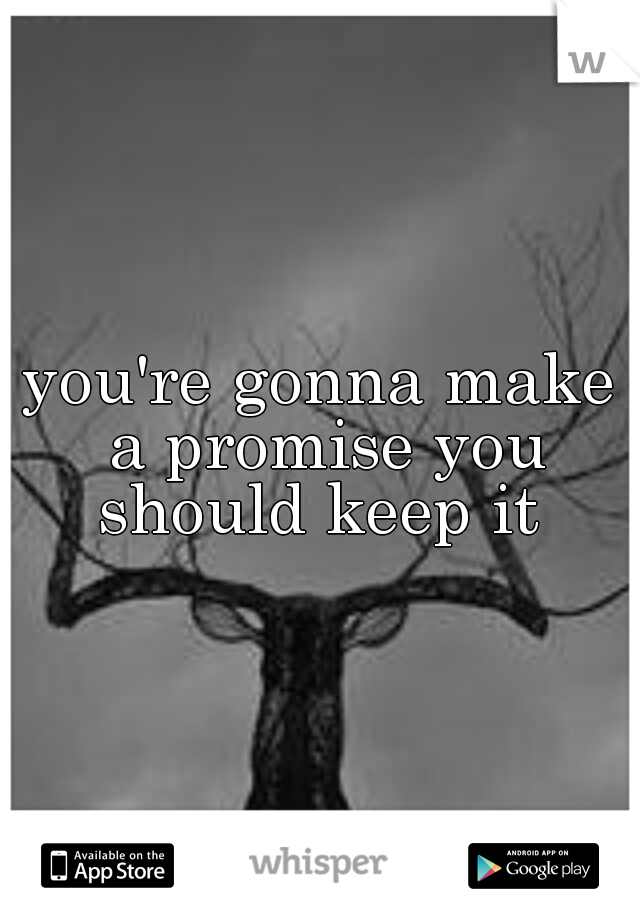 you're gonna make a promise you should keep it