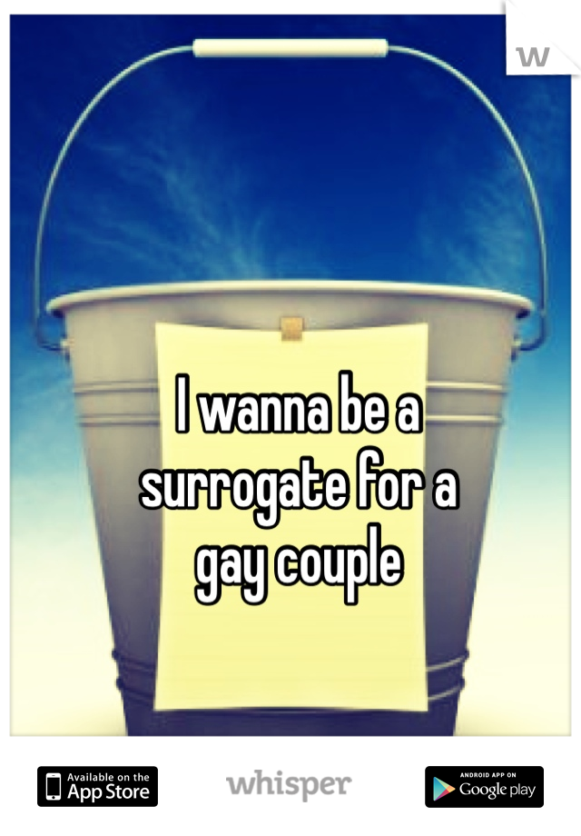 I wanna be a  surrogate for a gay couple