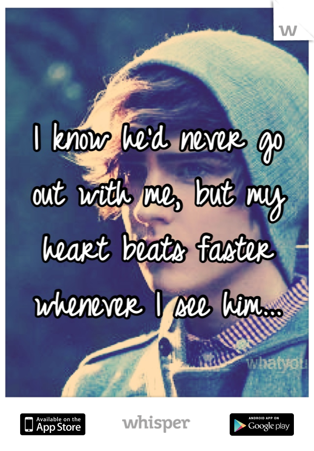 I know he'd never go  out with me, but my heart beats faster whenever I see him...