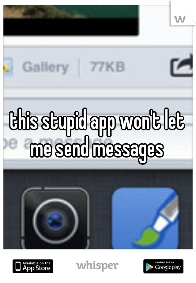 this stupid app won't let me send messages