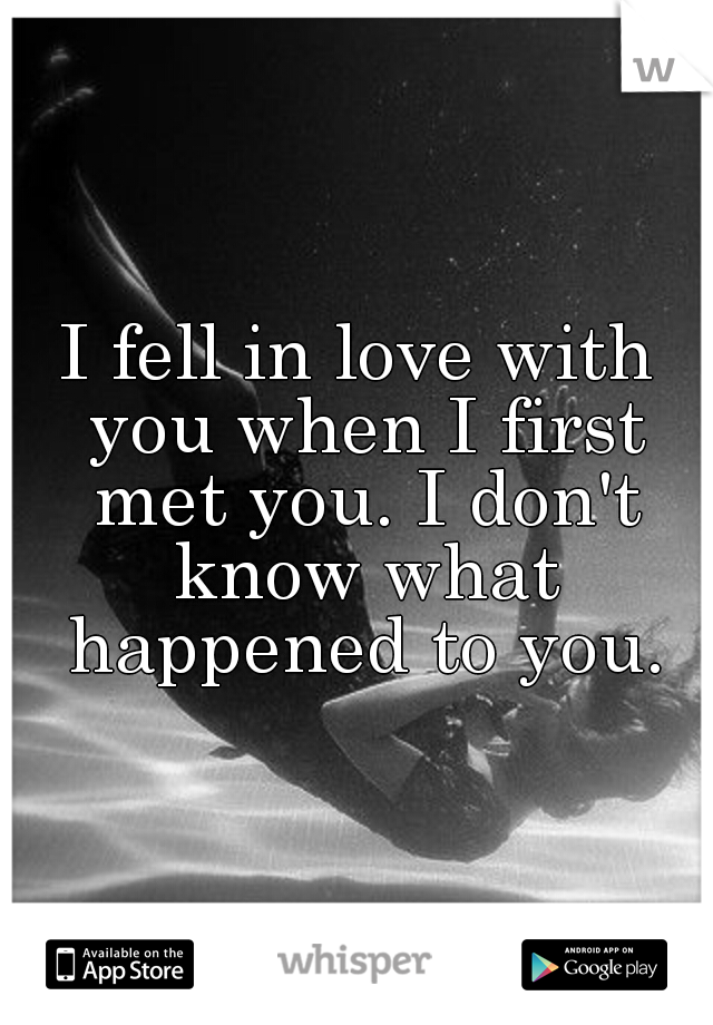 I fell in love with you when I first met you. I don't know what happened to you.