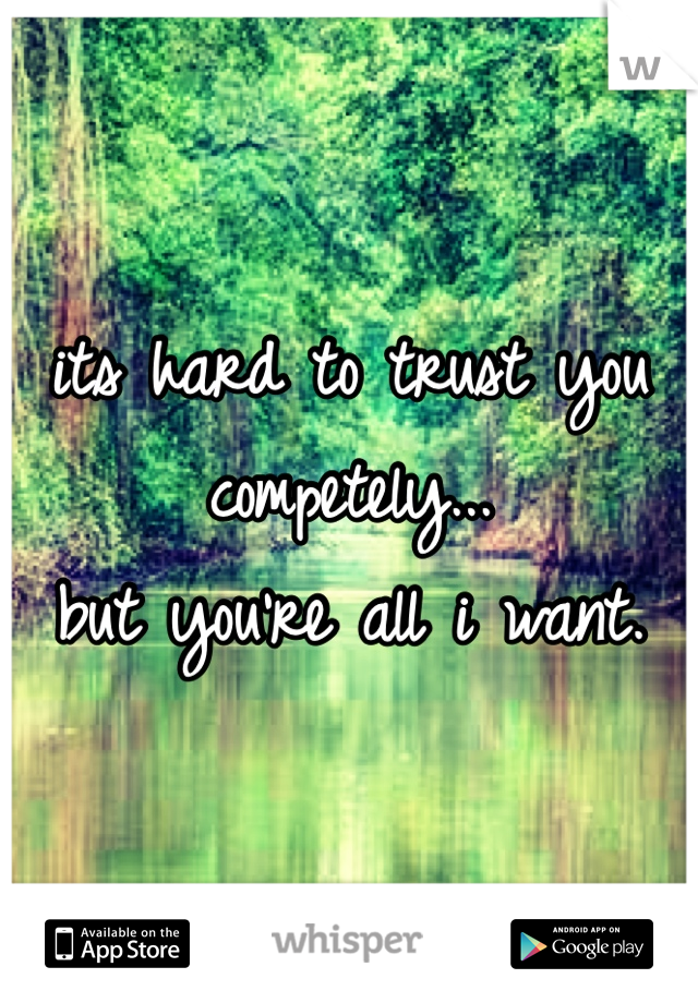 its hard to trust you competely...  but you're all i want.