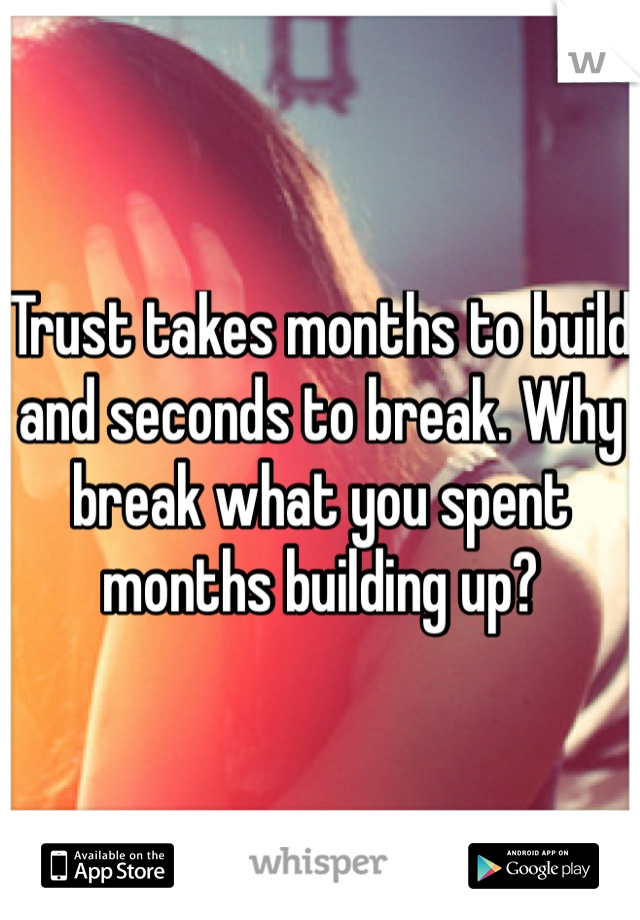 Trust takes months to build and seconds to break. Why break what you spent months building up?
