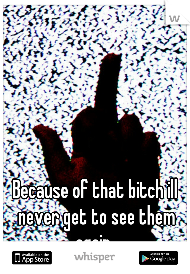 Because of that bitch ill never get to see them again.