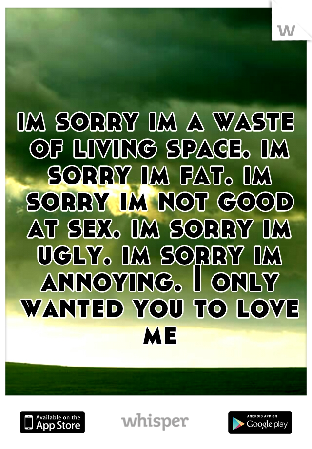 im sorry im a waste of living space. im sorry im fat. im sorry im not good at sex. im sorry im ugly. im sorry im annoying. I only wanted you to love me