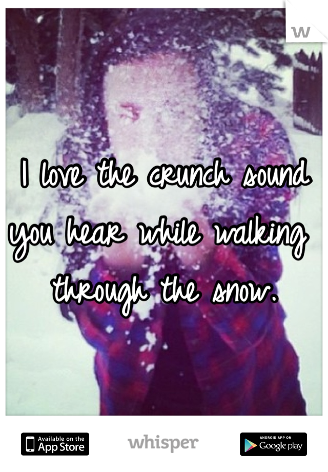 I love the crunch sound you hear while walking through the snow.