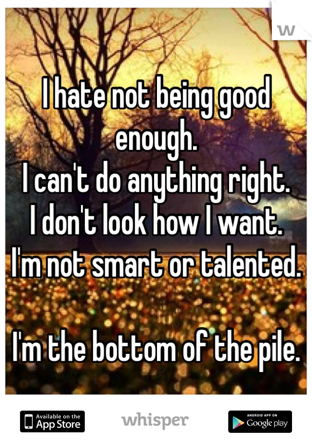 I hate not being good enough. I can't do anything right. I don't look how I want. I'm not smart or talented.  I'm the bottom of the pile.
