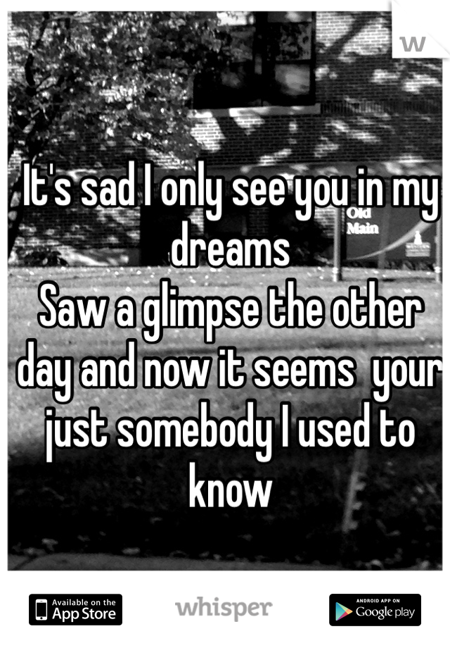 It's sad I only see you in my dreams  Saw a glimpse the other day and now it seems  your just somebody I used to know