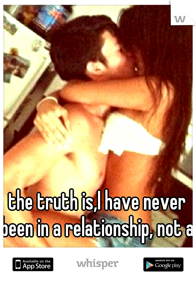 the truth is,I have never been in a relationship, not a proper one