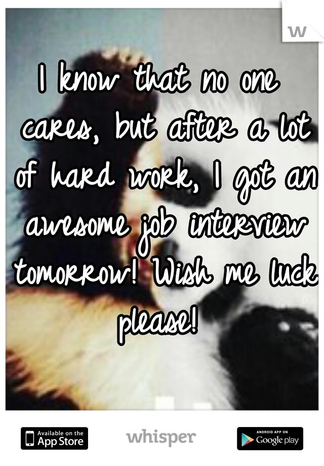 I know that no one cares, but after a lot of hard work, I got an awesome job interview tomorrow! Wish me luck please!