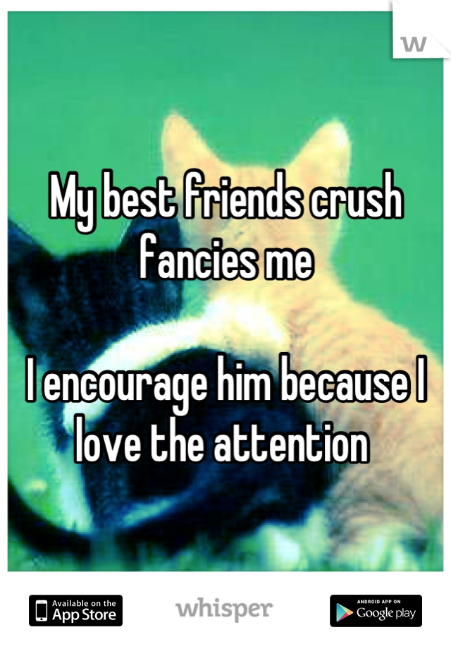 My best friends crush fancies me   I encourage him because I love the attention