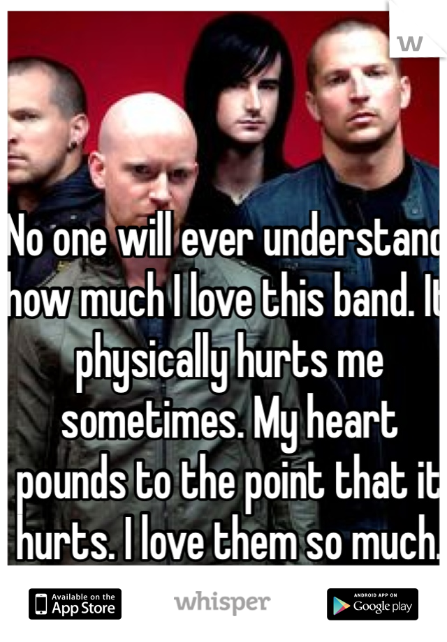 No one will ever understand how much I love this band. It physically hurts me sometimes. My heart pounds to the point that it hurts. I love them so much. They saved my life.