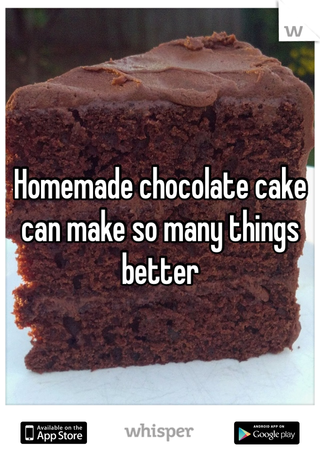 Homemade chocolate cake can make so many things better