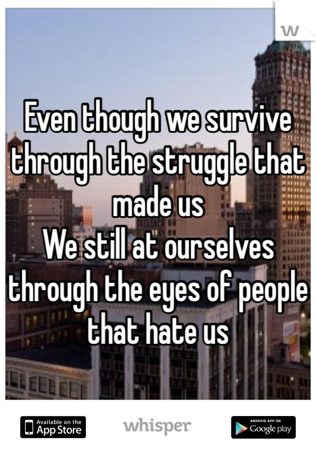 Even though we survive through the struggle that made us We still at ourselves through the eyes of people that hate us