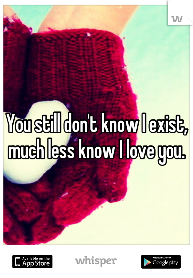 You still don't know I exist, much less know I love you.