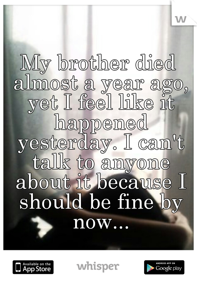 My brother died almost a year ago, yet I feel like it happened yesterday. I can't talk to anyone about it because I should be fine by now...