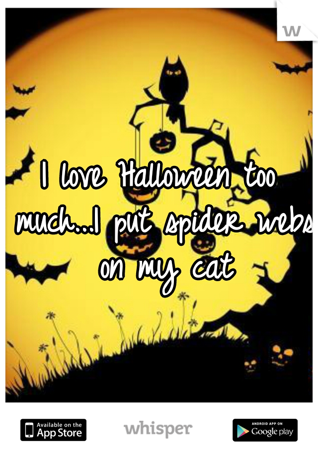 I love Halloween too much...I put spider webs on my cat