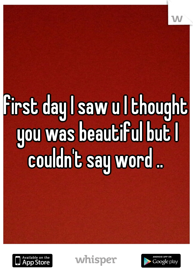 first day I saw u I thought you was beautiful but I couldn't say word ..