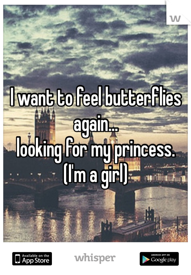 I want to feel butterflies again... looking for my princess. (I'm a girl)
