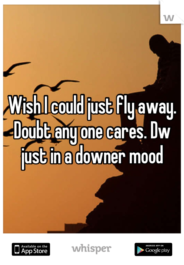 Wish I could just fly away. Doubt any one cares. Dw just in a downer mood