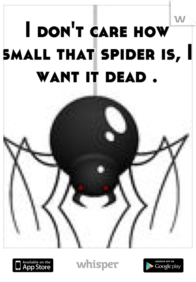 I don't care how small that spider is, I want it dead .