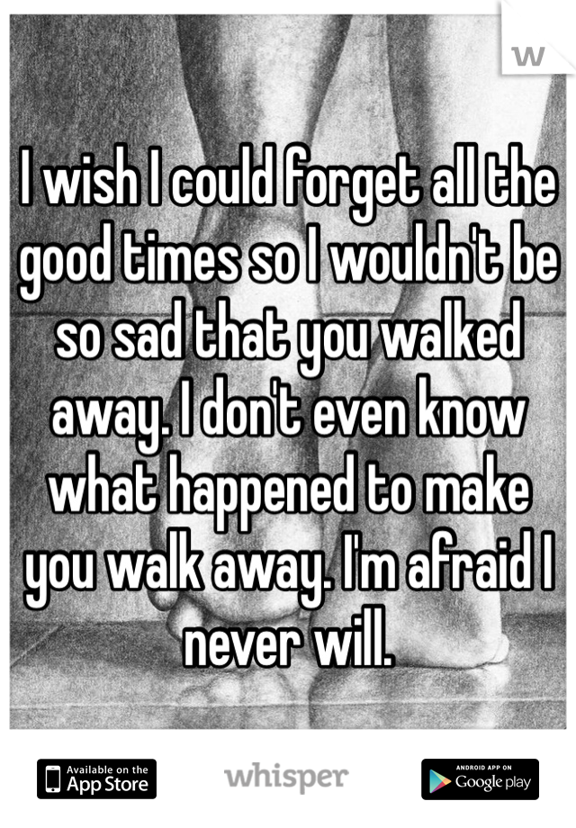 I wish I could forget all the good times so I wouldn't be so sad that you walked away. I don't even know what happened to make you walk away. I'm afraid I never will.