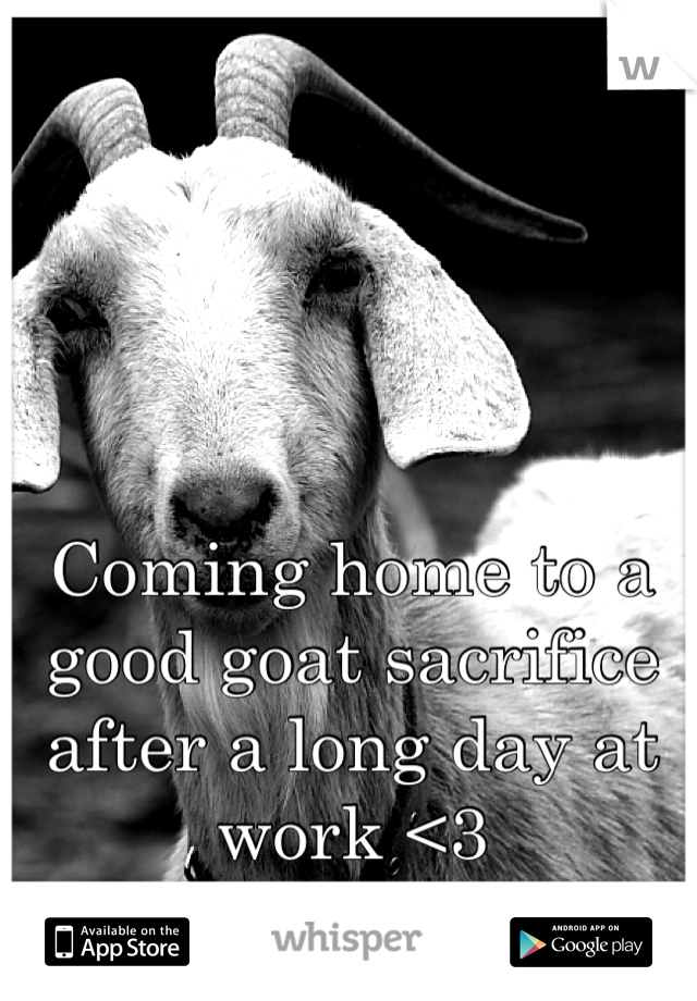 Coming home to a good goat sacrifice after a long day at work <3