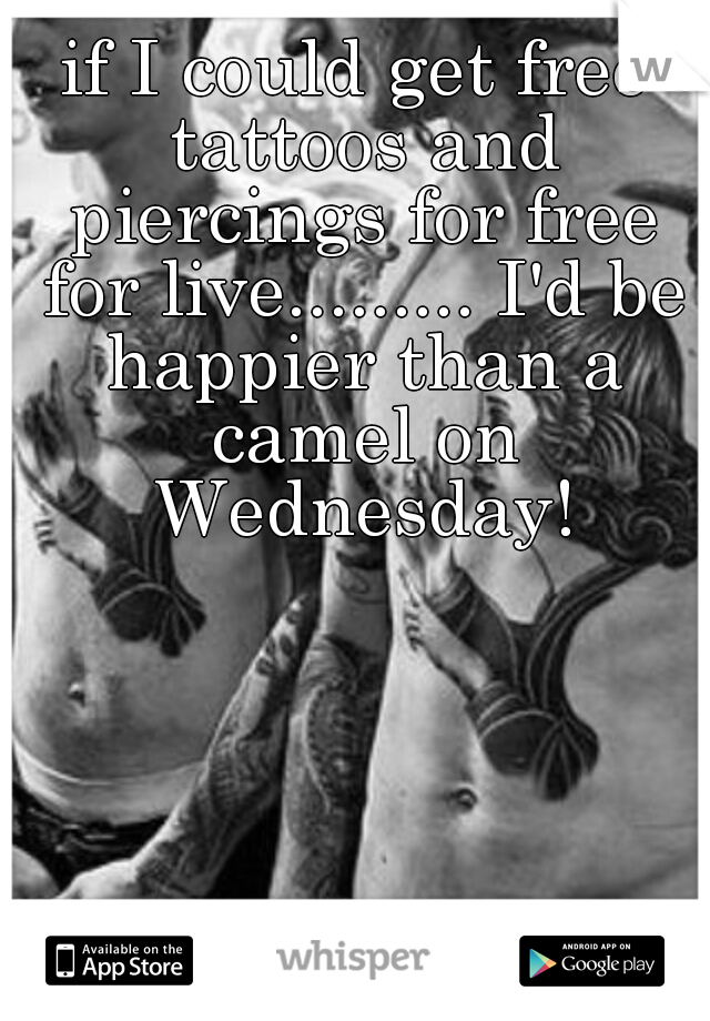 if I could get free tattoos and piercings for free for live......... I'd be happier than a camel on Wednesday!