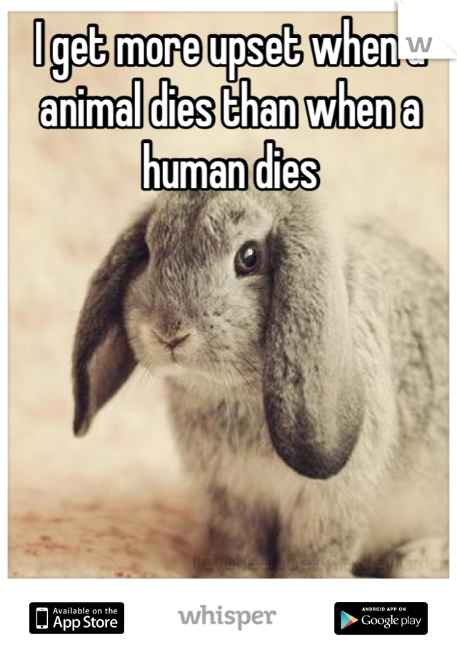 I get more upset when a animal dies than when a human dies