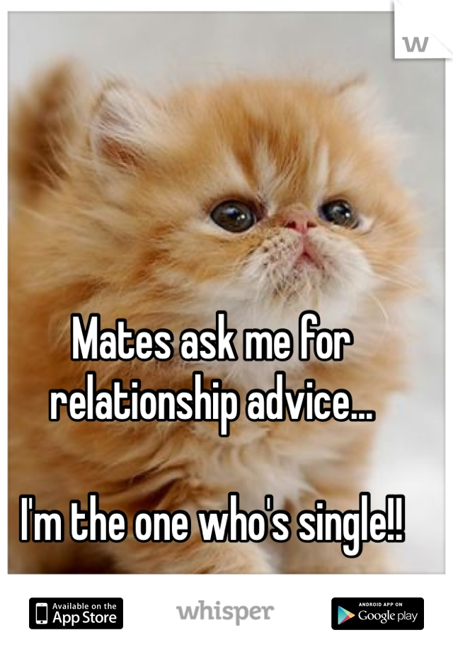 Mates ask me for relationship advice...  I'm the one who's single!!