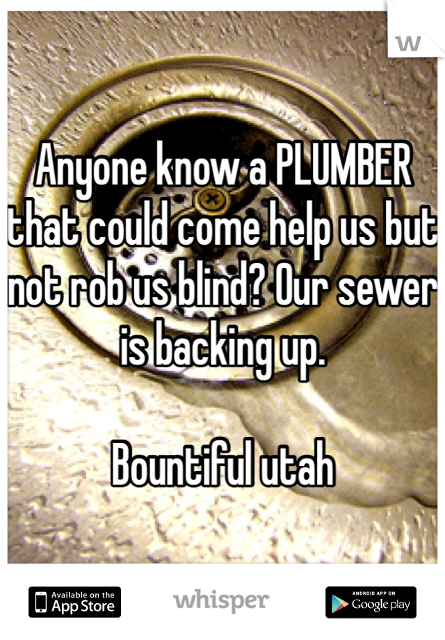 Anyone know a PLUMBER that could come help us but not rob us blind? Our sewer is backing up.   Bountiful utah