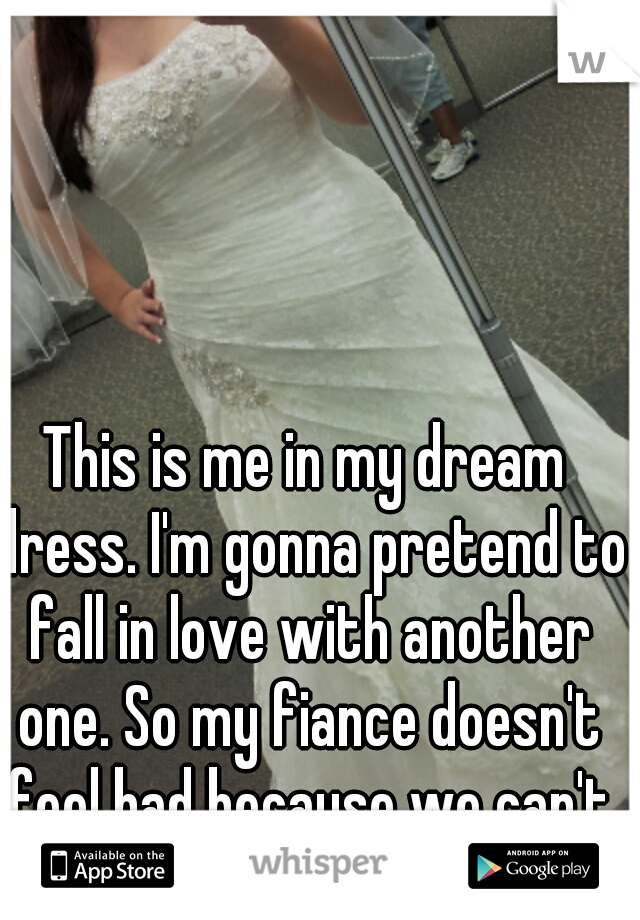 This is me in my dream dress. I'm gonna pretend to fall in love with another one. So my fiance doesn't feel bad because we can't afford it.