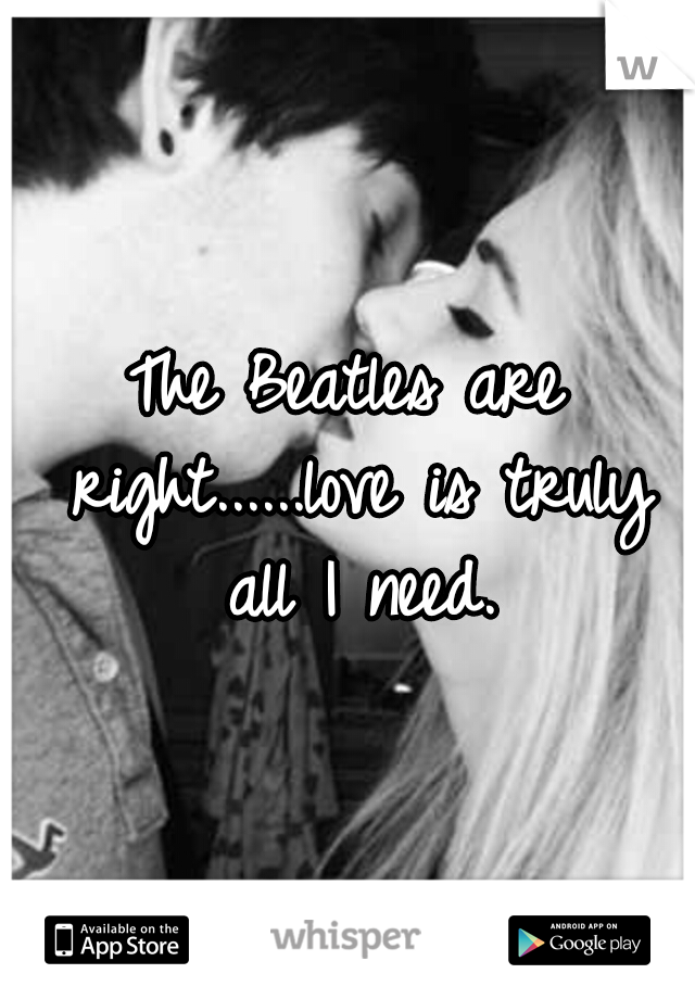 The Beatles are right......love is truly all I need.