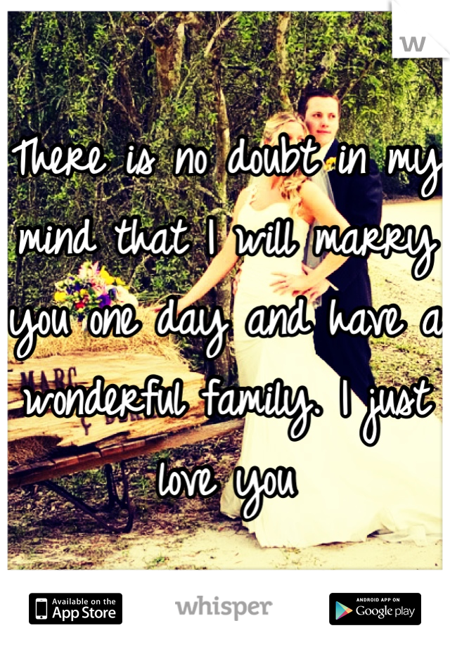 There is no doubt in my mind that I will marry you one day and have a wonderful family. I just love you