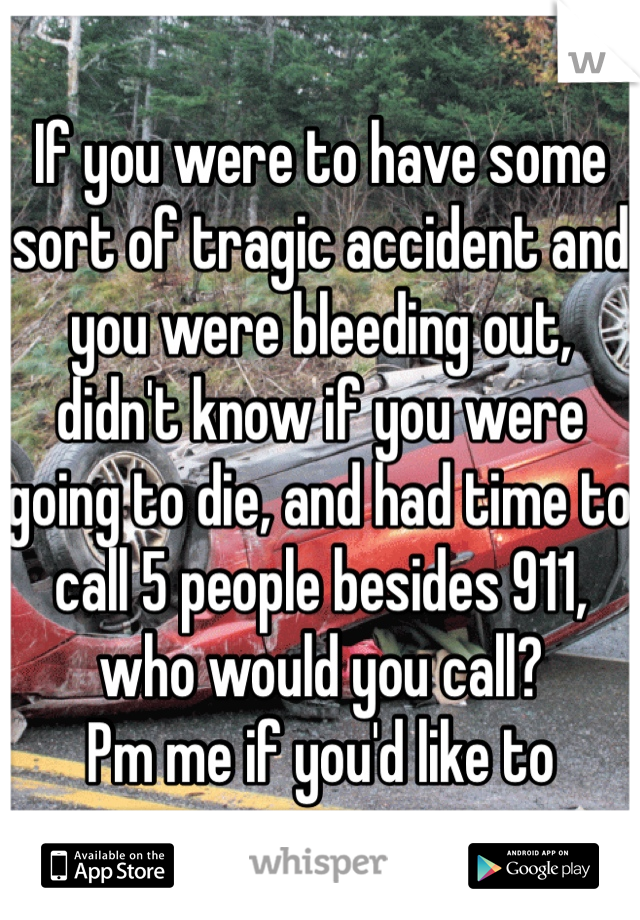If you were to have some sort of tragic accident and you were bleeding out, didn't know if you were going to die, and had time to call 5 people besides 911, who would you call?  Pm me if you'd like to