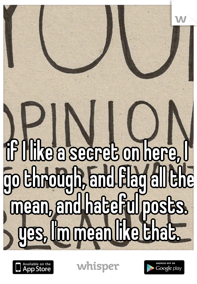 if I like a secret on here, I go through, and flag all the mean, and hateful posts. yes, I'm mean like that. sorry.