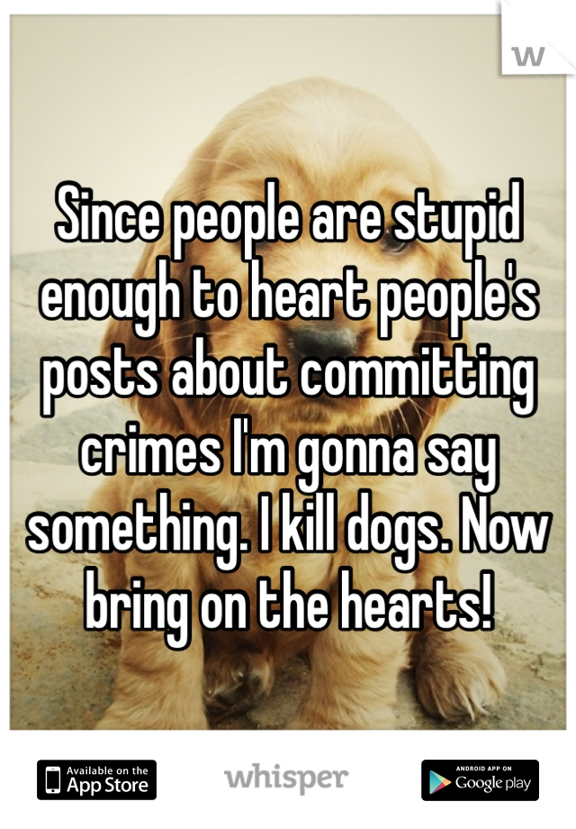 Since people are stupid enough to heart people's posts about committing crimes I'm gonna say something. I kill dogs. Now bring on the hearts!