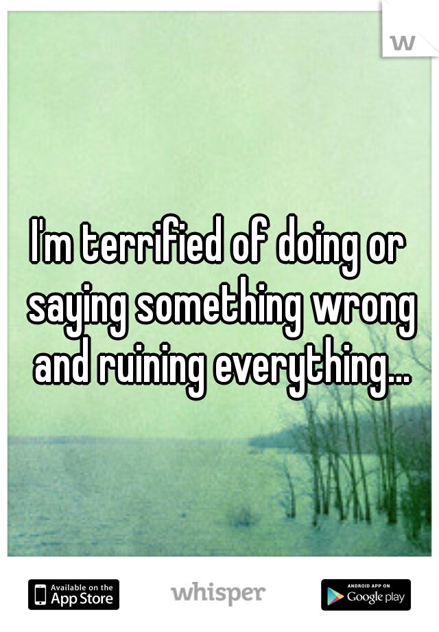 I'm terrified of doing or saying something wrong and ruining everything...