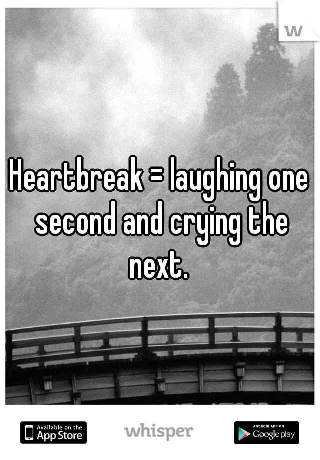 Heartbreak = laughing one second and crying the next.