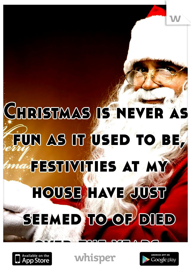 Christmas is never as fun as it used to be, festivities at my house have just seemed to of died over the years.